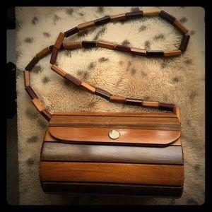 Vintage 1970s Teak Wood Shoulder Purse